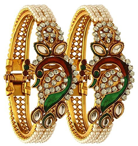 Zeneme Dancing Peacock Antique Gold Plated Bangle set for women  available at amazon for Rs.215