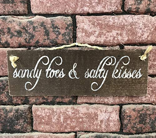 Wood Plaque Sandy Toes and Salty Kisses Holzschild rustikale Wanddekoration Strand Haus Kunst Strand Hängen Geburtstag Party Geschenk