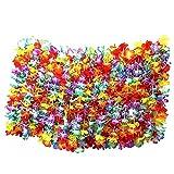 Kurtzy NE-2071 Colliers de Fleurs Hawaïennes Tropical - Lot de 50 - Multicolore