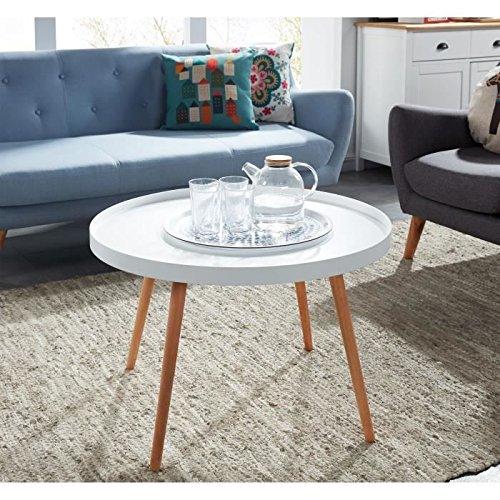 CONSTANCE Table basse ronde scandinave laqué blanc satiné - 74x74 cm