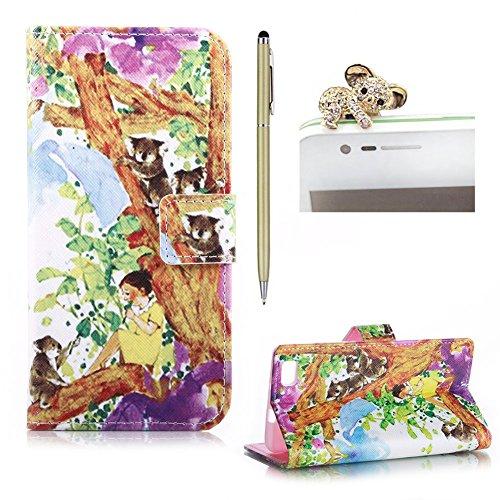 SKYXD Huawei P8 Lite 2016 5.0 Zoll Hülle Leder Mädchen Koala Muster Folio Klappbar Handy Tasche Schutzhülle [Magnet / Brieftasche Kartenfach / Standfunktion] Klapphülle mit [Handyanhänger + Eingabestift] Zubehör Set für Huawei P8 Lite 2016 5.0 Zoll Case Bookstyle Flip Leather Cover With [Stylus and Dust Plug]