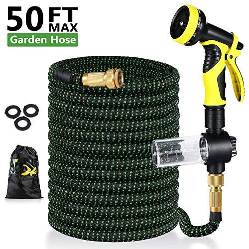 Uverbon Gartenschlauch Ausziehbar 15M/ 50FT Wasserschlauch mit Massivem Messing Steckverbinder, Triple Latex Core 9-Pattern Sprühdüse, Starke und Flexible Schlauch für Garten, Rasen
