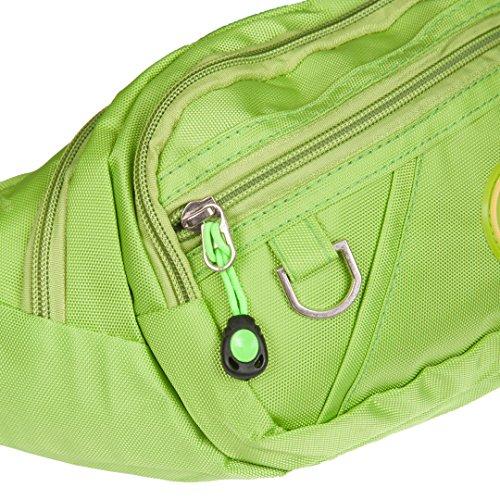 Bauchtasche | Gürteltasche | Große Hüfttasche für Damen oder Herren | Outdoor & Festival Brustbeutel aus Nylon | einfarbig | 5 verschiedene Farben Grün