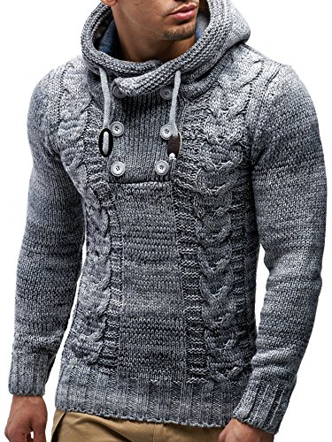 LEIF NELSON Men's Knitted Pullover 20227; size L, Grey