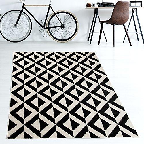 Traditionelle Ovale Teppich (TAPISO Teppiche Geometrische Muster Viereck Karo Kurzflor Teppich Meliert Wohnzimmer Schlafzimmer Farbe Creme Schwarz 80 x 150 cm)
