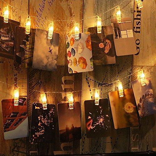 LED Foto Clips Lichterketten Lypumso, 20 Fotos Clips 2.5M Warmweiß Stimmungsbeleuchtung Batteriebetriebene Außen und Innen Dekoration für Foto Memos Kunstwerke