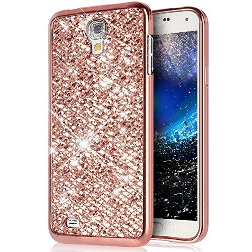 Surakey Cover Samsung Galaxy S4 Mini, Glitter Bling Protettiva Custodia in Silicone Colore Placcato di Lusso Brillante Antiurto TPU Bumper Ultra Sottile Cover per Samsung Galaxy S4 Mini,Oro Rosa