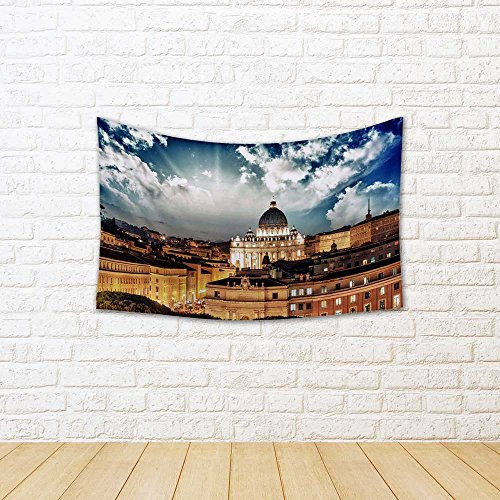 ArtzFolio Rome Buildings with Vatican St Peter Dome, Italy Canvas Tapestry Wall Hanging 64.1 x 42.4inch (Peters St Dome)