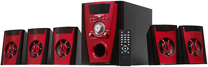 Krisons Polo Red 5.1 Bluetooth Home Theater with FM/AUX/USB/SD Card Support and Remote Control (Black: Red)