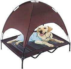 Jolitac Hundeliege mit Dach Hundebett Baldachin Schlafplatz Hundesofa Hunde Liege Haustierbett Katzenbett 3 Maße 2 Farben