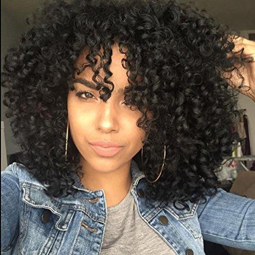 Kurz Gelockt Perücken lockiges Afro-Perücken für schwarz Frauen Hitzeresistente Synthetik Full Black Perücken mit Pony