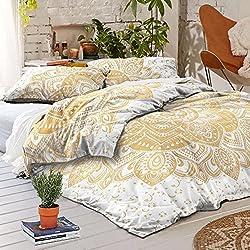 Juego de cama con funda de edredón y fundas de almohada diseño de mandala india con flores doradas y estampado Hecho a Mano