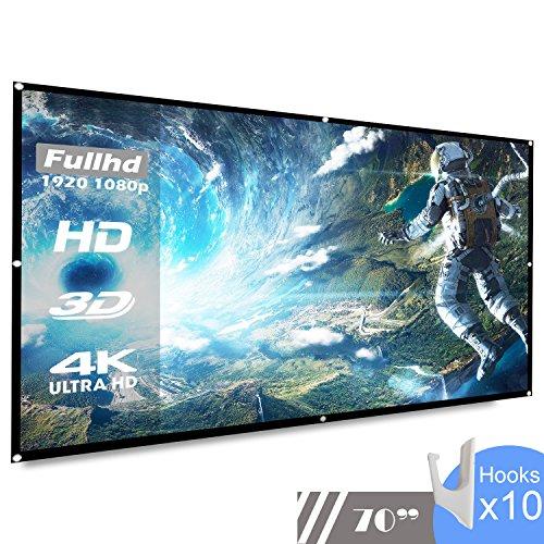 koogoo 70 Pouces 16: 9 HD Portable Projecteur Écran Pliable Mur Plafond Mont Intérieure Extérieure Écran de Projection (70 inch)
