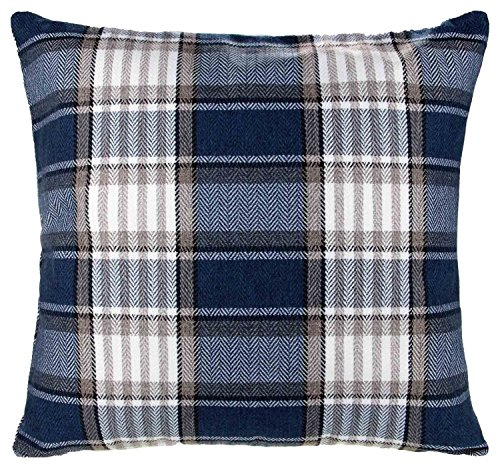 Panache Home Highland Tartan Check Cushion Cover, Navy Blue, 43 x 43 Cm