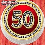 Großer, vorgeschnittener, essbarer Kuchentopper aus Zuckerguss, ca. 19,1cm Durchmesser, rot, rund, zum 50. Geburtstag