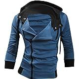 jeansian Men's Casual Hooded Jacket Slim Fit Outerwear Sweatshirt Tops Coat Zip Sport 8945