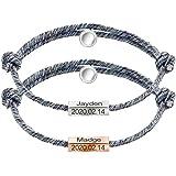 Conjunto de pulseras de aniversario personalizadas Pulsera de cuerda de cordón con campanas magnéticas, 2 piezas Parejas de a