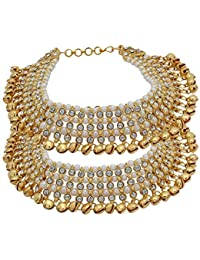 Tirupati Deals New Traditional World Indian Gold Tone Designer Ethnic CZ Stone Bridal 3 Layer Anklet Jewelry Payal for Women and Girls, Festive Gift Item, White Golden