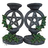 –Set di 2portacandele candelabro pentagramma finta pietra con edera, Witch occulta