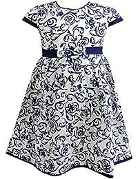 Salt and Pepper - Robe de fille ornements à motifs, blanc-bleu - 73120294