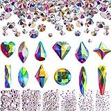 Conjunto de Cristales AB de Uña 1728 Abalorios Planos Redondos y 240 Diamantes de Imitación de Espalda Plana para Manualidades Arte de Uñas Ropa Zapatos Bolsa (240 y 1728 Formas Mezclados)