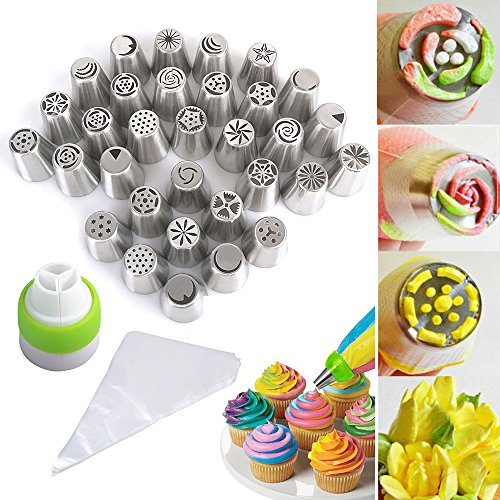 total-133-pcs-32-pieces-russian-icing-piping-nozzles-tips-100-disposable-pastry-bag-1-tri-color-coup
