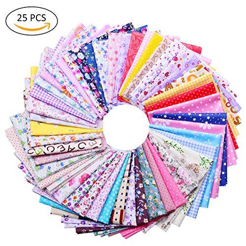 TankerStreet 25 Stück Baumwolle Stoff Patchwork Textil Craft Fusseln DIY Nähen Scrapbook anderen Muster Bundle Squares für Kleidung Quilt Puppe (20 x 30 CM)