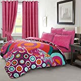 Nimsay Home Holiday Bohemian Boho Floral Circles Duvet Cover and Pillowcases Bedding Bed Linens Set (Double)