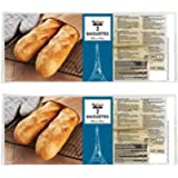 2 x 2 Stone Baked Mini White Baguettes Bread 10min Oven Ready Cooking