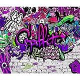 decomonkey Fototapete Graffiti Jugendzimmer 250x175 cm XL Tapete Fototapeten Vlies Tapeten Vliestapete Wandtapete moderne Wandbild Wand Schlafzimmer Wohnzimmer Streetart Bunt Farbe Ziegel violett rosa
