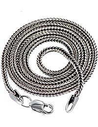 AnazoZ S925 Sterling Silver Jewelry Retro 1.5MM Width Wheat Necklace Chain