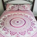 HANDICRAFTOFPINKCITY Pink Color Ombre Mandala Duvet Cover Throw Reversible Quilt Cover Indian Bedding Doona Cover Handmade Blanket Cover Set