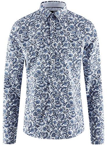 oodji Ultra Uomo Camicia Aderente Stampata Blu (1075E)