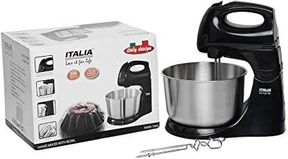 ITALIA 300W Hand Mixer Blender with Bowl (Silver and Black)