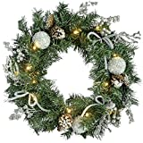 WeRChristmas 60 cm Pre-Lit con Forma de Corona de Navidad con iluminación 20 luz Blanca fría Luces LED, Plateado Ice