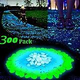 Amaza 300 Stück Luchtsteine Leuchtkiesel Kieselsteine Leuchtende Floureszierende Steine Garten Deko (Blau & Grün & Weiß)