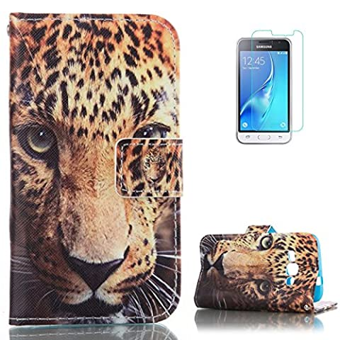 Samsung Galaxy J1 2016/J120F PU Leather Wallet Case [with Free Screen Protector],KaseHom Cool Fashion Colourful Design Folio Book Style Magnetic Closure Stand Function with Card Slots and Cash Holder Shockproof Synthetic Faux Leather Full Body Protective Flip Case Cover Skin Shell for Samsung Galaxy J1 2016/J120F - Tiger Head