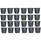 Synergy Plast Plastic Pot, Black, 6 inch, 24 Pieces