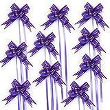 Oblique-Unique 10 Geschenkschleifen mit Geschenkbändern für Geschenke und Zuckertüten - Farben und Größe wählbar (Lila 10x7cm)