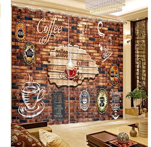 MSCLY Tende per Finestre 3D per Soggiorno caffè Segno Muro Cucina Tende Romane H240Xw260Cm