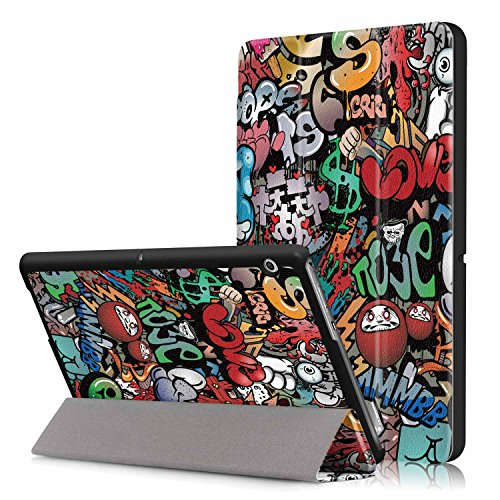 Xuanbeier Huawei MediaPad T3 10 Hülle Case-Ultra Dünn & Leicht PU Leder Schutzhülle Cover für Huawei MediaPad T3 10(9,6 Zoll) (Z-Graffiti)