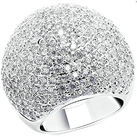 Fedi Nuziali Donna Placcato Oro Emisfero Forma Forma Zirconia Cubicia Cz Da (14k Diamante Tiffany Anello Setting)