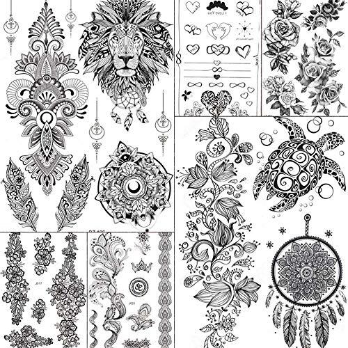 MRKAL Indien Tribal Böhmen Lion Dream Catcher Temporäre Tattoos Aufkleber Gefälschte Juwelen Frauen Mädchen Tatoo Schwarze Blume Gefälschte Tattoos Schildkröte 15X21 cm (Kostüme Schildkröten Erwachsene)