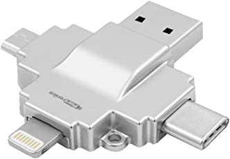 Portronics POR-812 Diski 4-in-1 Card Reader Connect with USB (Silver)