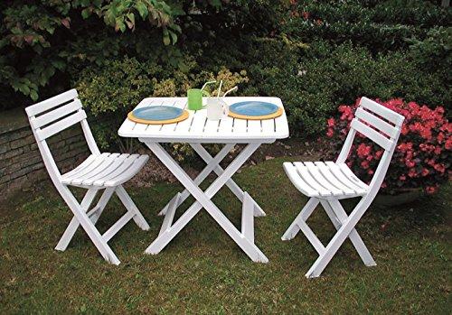 3-teiliges Kunststoff Gartenmöbel Set 'Camping weiß', komplett klappbar, perfekt auch für den...