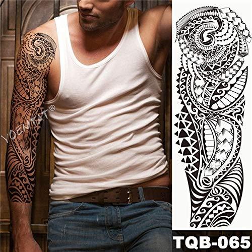 Brt grande armo manica tatuaggio maori potenza totem impermeabile adesivo tatuaggio guerriero samurai angelo teschio uomini pieno nero tatoo 01 (in questo stato del m