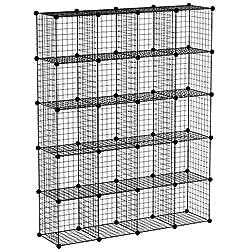 Meerveil Étagère de Rangement Armoire Cube Étagère à Livres en Grilles Métalliques Rangement de Vêtements Étagère Multifonction pour Livres, Jouets, Vêtements 12 Cubes Noir (147x37x184cm)