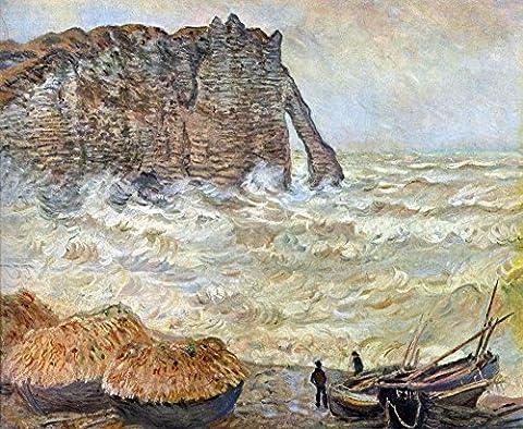 Das Museum Outlet–Stormy Sea (La Porte d 'Aval) by Monet, gespannte Leinwand Galerie verpackt. 40,6x (Leinwand Porte)