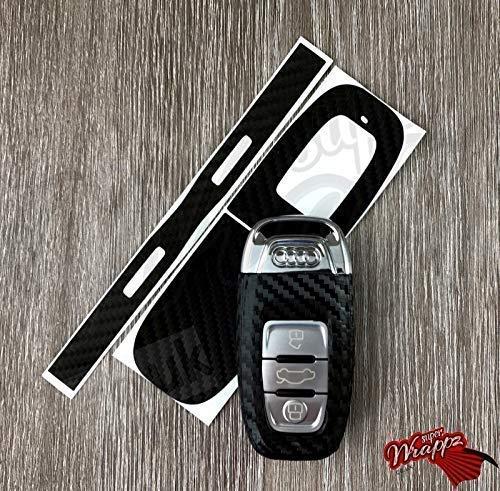 3M 1080 Kohlenstofffaser Schwarz Schlüssel Bezüge Abdeckung Skin Aufkleber Bezüge für Audi Schlüsselanhänger A1, A2, A3, A4, A5, A6, A7, A8, Tt , Q2, Q3, Q5, Q7, Rs, S LINE , Quattro
