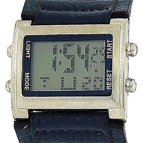 Montre Retro Sport Garçon/Homme Digitale Chronographe avec Large Bracelet Bleu